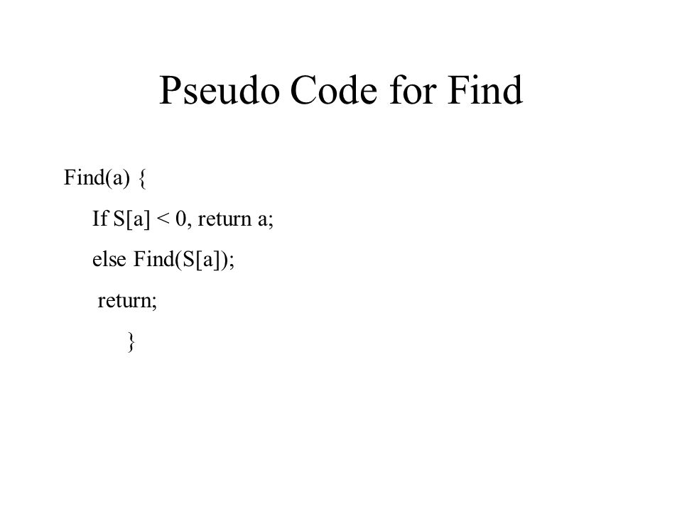 Pseudo Code for Find Find(a) { If S[a] < 0, return a;